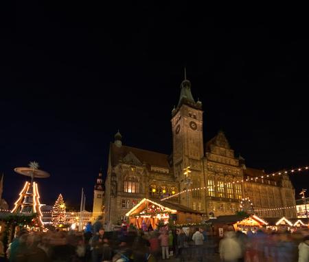 striezelmarkt: Chemnitz, christmas market by night Editorial