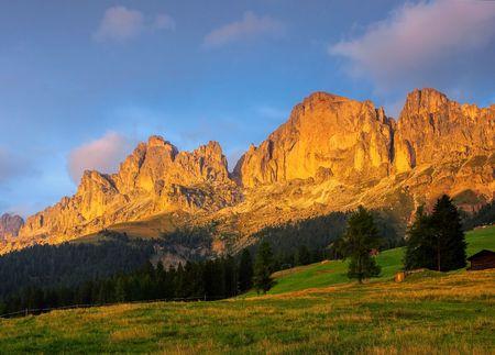 alpenglow: Rosengarten group in Dolomites