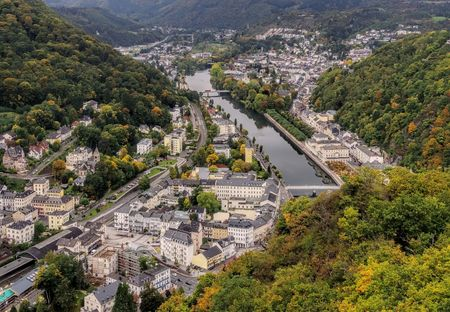 Bad Ems and river Lahn in Germany in autumn