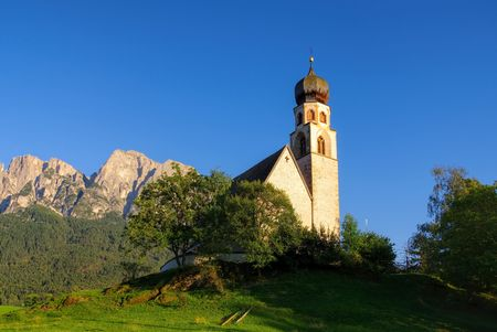 konstantin: Church St. Constantine and mountain Schlern Stock Photo