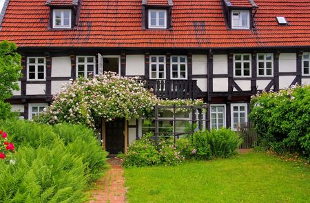 rambler: typical half timbered house and old garden