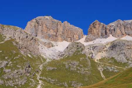 sella: Sella group in Dolomites, the ropeway
