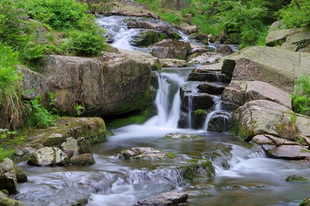 waterfall river Bode in Harz Mountains