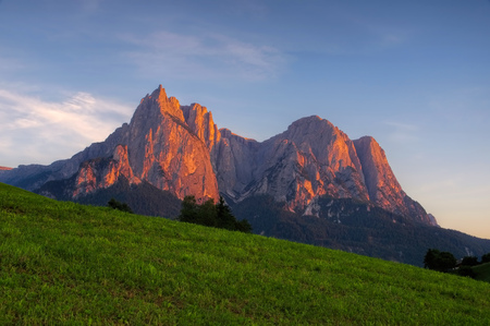 alpenglow: mountain Schlern in Alto Adige, italian Dolomites
