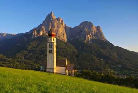 st  valentin: church St. Valentin and mountain Schlern in Dolomites