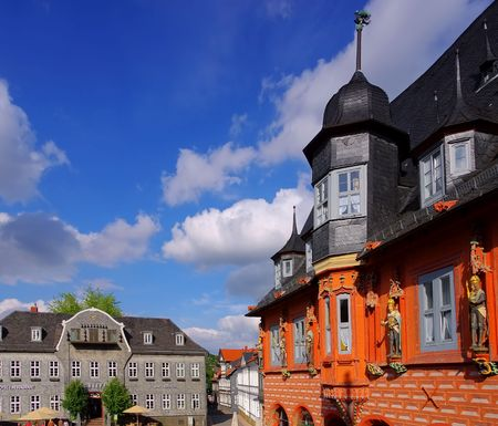 half timbered house: Goslar town square Stock Photo