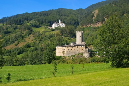 tyrol: Burgeis castle and abbey in South Tyrol Stock Photo