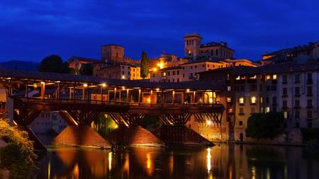 grappa: Bassano del Grappa Ponte Vecchio by night in northern Italy