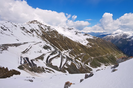switchback: Stelvio Pass in Winter, South Tyrol in Italy