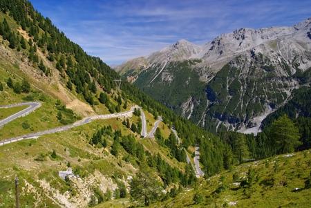 switchback: Stelvio Pass in South Tyrol, European Alps