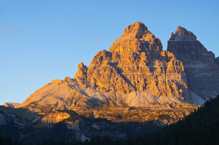 alpenglow: Tre Cime di Lavaredo from zhe south