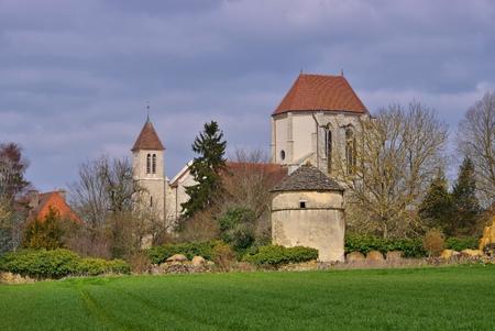 romanesque: romanesque Saint Thibault church in Burgundy, France Stock Photo