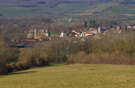 burgundy: Chateau and village Commarin in Burgundy, France