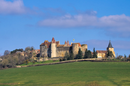 burgundy: Chateau Chateauneuf-en-Auxois in Burgundy, France
