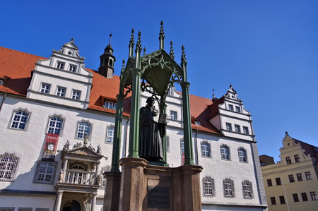 town halls: Wittenberg old town hall and Luther memorial Editorial