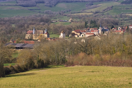chateau: Chateau and village Commarin in Burgundy, France