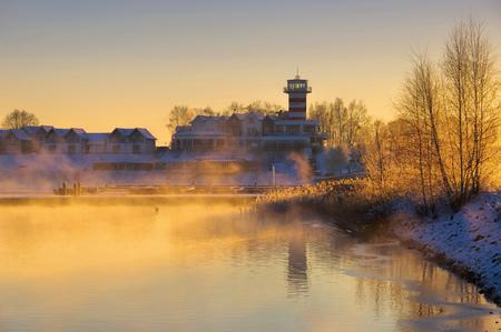pharos: Geierswalde lighthouse in the morning in winter, Lusatian Lake District Stock Photo