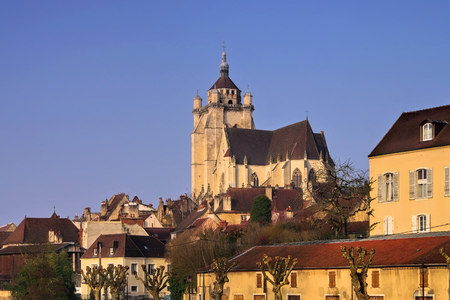the town Dole and church in France