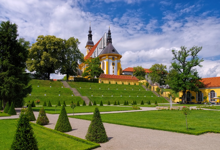 lower lusatia: Collegiate Church of St. Mary with cloister garden in Monastery Neuzelle, Brandenburg, Germany