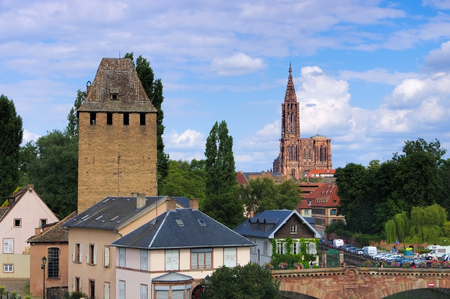 alsace: Strasbourg cathedral in  Alsace, France Editorial