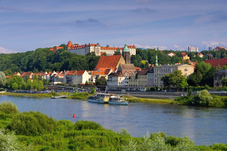 View over the River Elbe to the town Pirna, Saxony, Germany, Europe