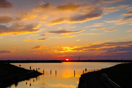 lower lusatia: Senftenberger Lake, nice sunset in Brandenburg in Germany