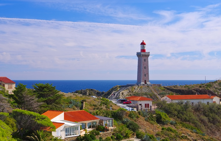 roussillon: lighthouse Cap Bear near Collioure, Languedoc-Roussillon in France Editorial