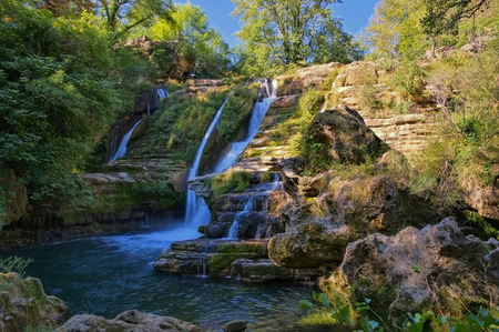 waterfall Navacelles, Herault southern France Stock Photo