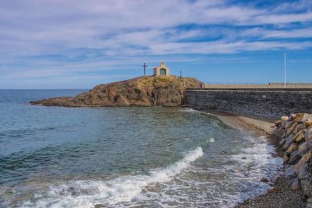 roussillon: Collioure, Ilot St-Vicent Kapelle, Languedoc-Roussillon in France Stock Photo