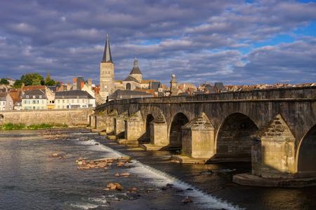 La Charite-sur-Loire in Burgundy, town and river Loire, France