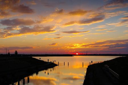 Senftenberger Lake, nice sunset in Brandenburg in Germany