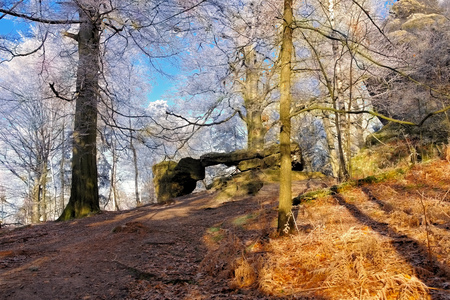 hoarfrost: Hiking trail in the Elbe sandstone mountains in fall
