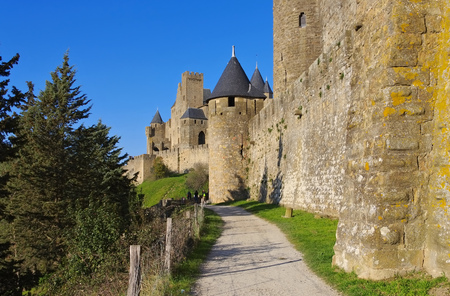 roussillon: Castle of Carcassonne in southern  France