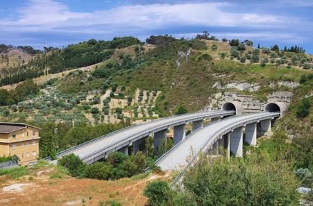 nowhere: highway bridge to nowhere Stock Photo