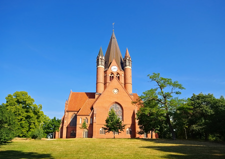Halle, the Paulus-Church protestant church in brick gothik style