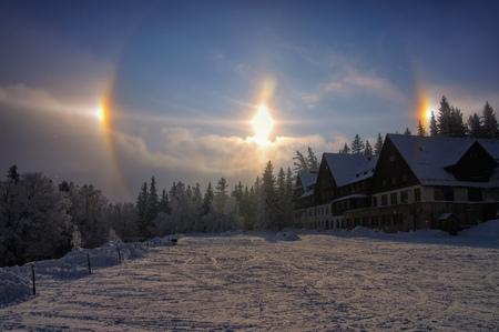 atmospheric phenomena: sun dog, a atmospheric phenomenon, also called  parhelion