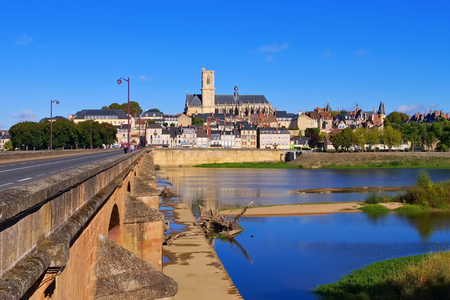Nevers in Burgundy, cathedral and river Loire, France Stock Photo