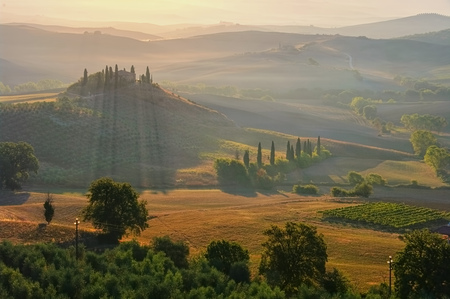 landscape in Tuscany, morning in autumn