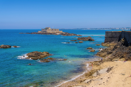 st malo: Saint-Malo Fort National in Brittany, France
