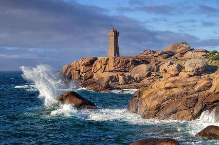 Lighthouse Phare de Ploumanach in Brittany, France