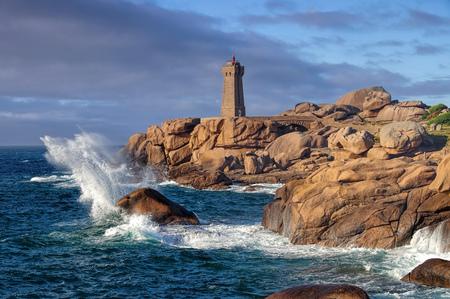 Lighthouse Phare de Ploumanach in Brittany, France