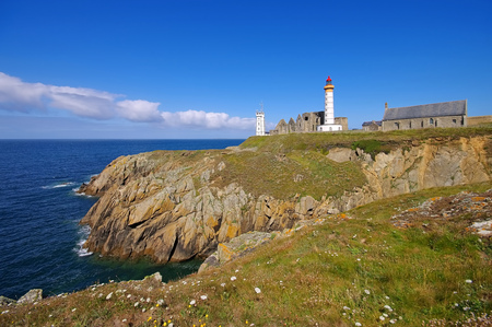 Phare de Saint-Mathieu in Brittany, France Stock Photo
