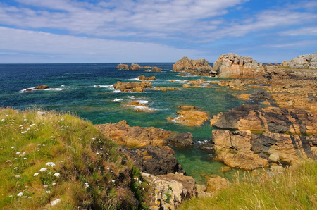 Plougrescant  coast  in Brittany, France