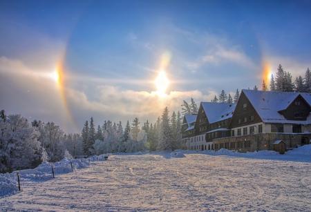 sun dog, a atmospheric phenomenon, also called parhelion