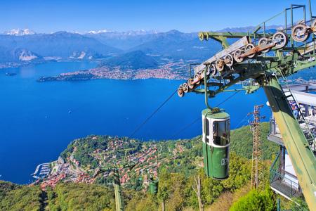 Sasso del Ferro ropeway on lake Lago Maggiore in northern Italy 写真素材 - 104267422