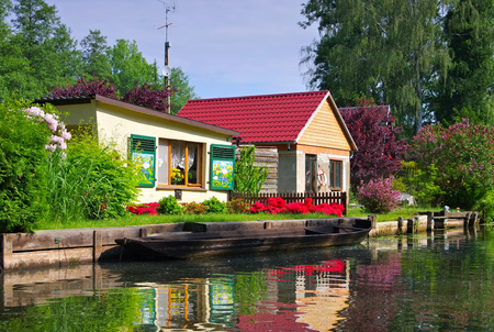 Spree Forest house on the water, Brandenburg Stock Photo