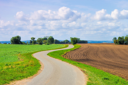 a bike path on the island of Poel in Germany Imagens