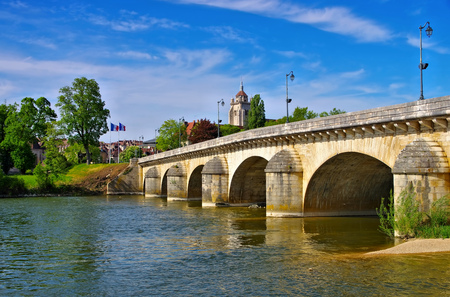 the town Dole with church and bridge in France