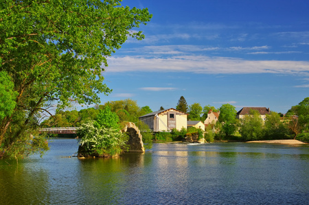 Dole old roman bridge and river Doubs, France Stock Photo - 125478649
