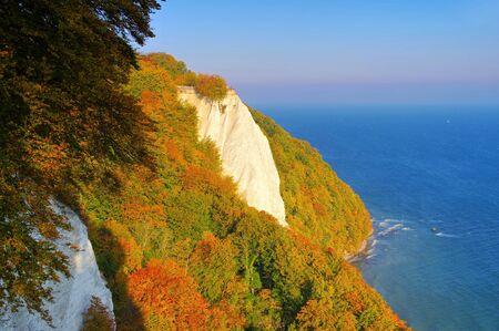 Ruegen island, the chalk cliffs in autumn, the Kings chair seen from Victorias View